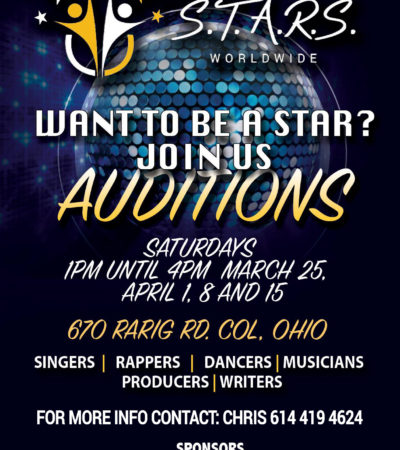 Auditions April 1st, 8th and 15th